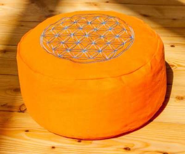 Meditationskissen Blume des Lebens - Orange